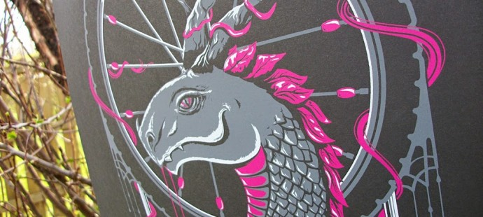 Our Desert Rose Dragon print will be in the Pinchflat Bike Poster Show in Columbus!