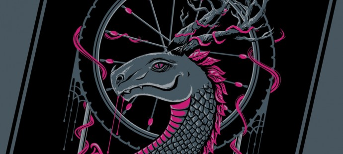 Desert Rose Dragon screenprint for sale